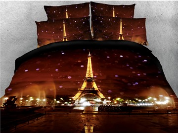 Eiffel Tower in the City Night Printed 4-Piece 3D Bedding Sets/Duvet Covers