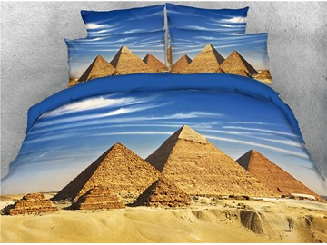 The Landscape of Pyramid and Blue Sky Printed 4-Piece 3D Bedding Sets/Duvet Covers