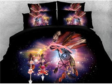 Dream Catcher Feathers Pattern and Galaxy Printed 4-Piece 3D Bedding Sets/Duvet Covers