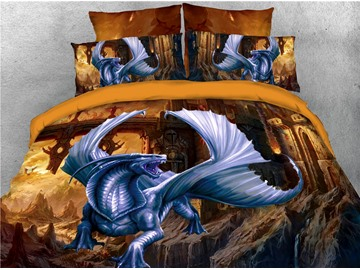 Eye-catching Dragon with Wings Printed 4-Piece 3D Bedding Sets/Duvet Covers