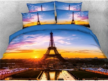 Eiffel Tower and Sunrise Scene Printed 4-Piece 3D Bedding Sets/Duvet Covers