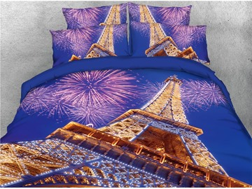 Blooming Fireworks and Eiffel Tower Printed 4-Piece 3D Bedding Sets/Duvet Covers