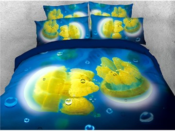 Ocean Yellow Jellyfish Printed 4-Piece 3D Bedding Sets/Duvet Covers