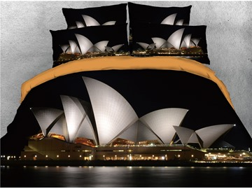 White Opera House and Light Printed 4-Piece 3D Bedding Sets/Duvet Covers