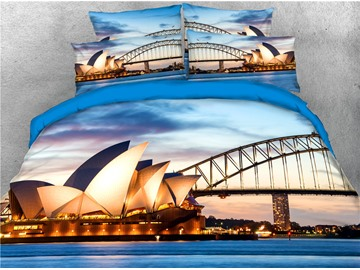 Opera House and Night Scene Printed 4-Piece 3D Bedding Sets/Duvet Covers
