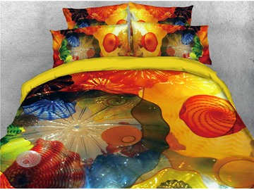 Jellyfish Printed Ocean Theme Printed 4-Piece 3D Bedding Sets/Duvet Covers