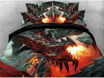 Black Dragon Spouting Fire Printed 4-Piece 3D Bedding Sets/Duvet Covers