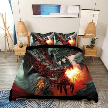 Black Dragon Spouting Fire Printed 4-Piece 3D Bedding Sets/Duvet Covers Colorfast Wear-resistant Endurable