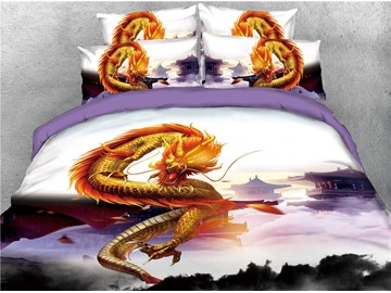Golden Dragon Hovering in the Sky Printed 4-Piece 3D Bedding Sets/Duvet Covers