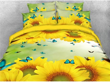 Gorgeous Sunflower and Butterflies Printed 4-Piece Bedding Sets/Duvet Covers