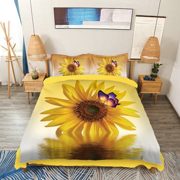 3D Sunflower Butterfly and Water Printed Bedding Set Yellow 4-Piece Duvet Cover Set