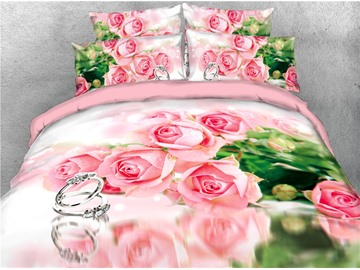 A Bunch of Pink Roses and Ring Printed 4-Piece 3D Bedding Sets/Duvet Covers