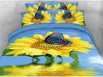 Sunflower and Butterfly Water Printed 4-Piece 3D Bedding Sets/Duvet Covers