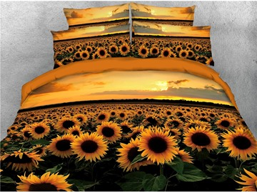 Sunflower and Sunset 3D Soft Bedding Set 4Pcs Duvet Cover with Zipper Closure
