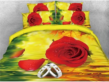 Fresh Red Rose and Diamond Ring Printed 4-Piece 3D Bedding Sets/Duvet Covers