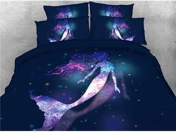 Galaxy Mermaid Soft Lightweight 3D Animal Duvet Cover Set 4Pcs Bedding Set