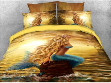 Mermaid and Sea Yellow Printed 4-Piece 3D Bedding Sets/Duvet Covers