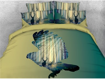 Bird Shape and Sunshine Forest Printed 4-Piece 3D Bedding Sets/Duvet Covers