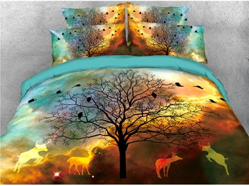Tree Shadow and Golden Deer Printed 4-Piece 3D Bedding Sets/Duvet Covers