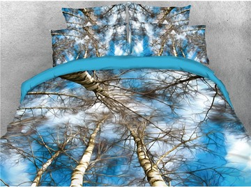 Tree Printed White and Blue 4-Piece 3D Bedding Sets/Duvet Covers