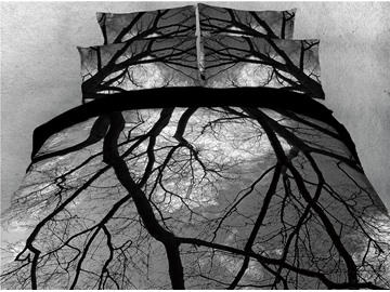 Black Tree Branches Printed 4-Piece 3D Bedding Sets/Duvet Covers