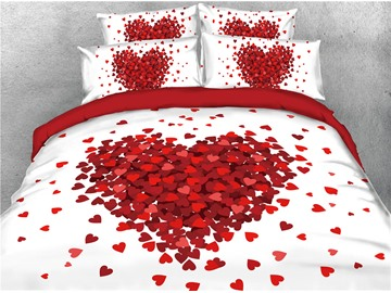 Red Heart Shape Printed Romantic 4-Piece 3D Bedding Sets/Duvet Covers