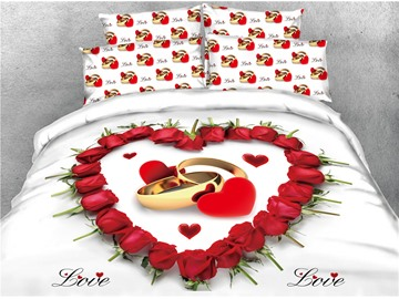 Red Rose Heart Shape and Ring Printed 4-Piece 3D Bedding Sets/Duvet Covers