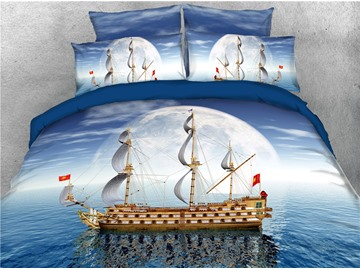 Ship Sailing and Ocean Voyage Exploration Theme Printed 4-Piece 3D Bedding Sets/Duvet Covers
