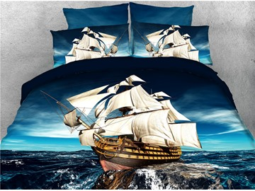 Pirate Ship Voyage Exploration Theme Printed 4-Piece 3D Bedding Sets/Duvet Covers