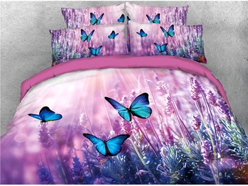 Purple Lavender and Butterfly Printed 4-Piece 3D Bedding Sets/Duvet Covers