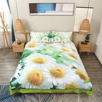 White Daisy Field Fresh Flower Printed 4-Piece 3D Bedding Sets/Duvet Covers
