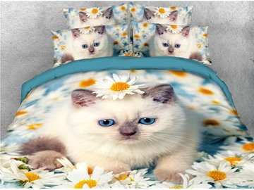 White Cat and Daisy Printed 4-Piece 3D Bedding Sets/Duvet Cover