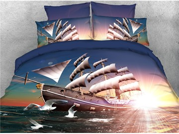 Pirate Ship Sailing and Seagull Sunrise Printed 4-Piece 3D Bedding Sets/Duvet Covers