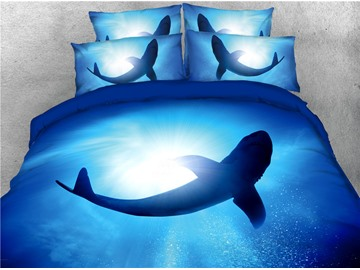 Sea Shark Blue Ocean Printed 4-Piece 3D Bedding Sets/Duvet Covers