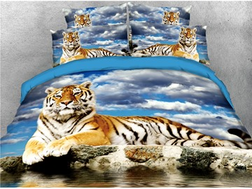Tiger Lying on a Rock and Sky Printed 4-Piece 3D Bedding Sets/Duvet Covers