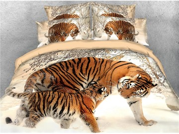 3D Tiger Family in Snow Colorfast/Soft/Washable 4-Piece Zipper Bedding Sets Buffy Duvet Cover