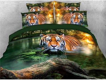 Tiger in the Lake Water Printed 4-Piece 3D Bedding Sets/Duvet Covers
