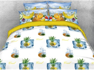 Pineapple and Ice Cube Printed Cool Summer 4-Piece 3D Bedding Sets/Duvet Covers