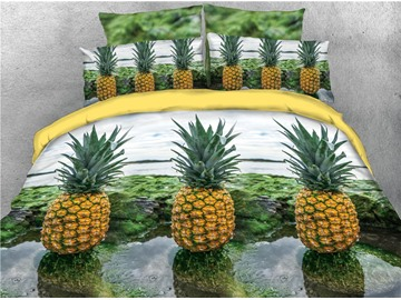 Fresh Pineapple and Water Printed 4-Piece 3D Bedding Sets/Duvet Covers