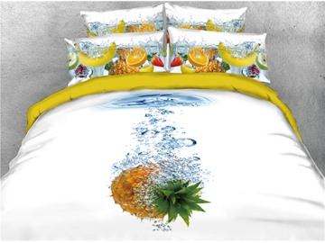 Pineapple and Water Digital Printed Cool Summer 4-Piece 3D Bedding Sets/Duvet Covers