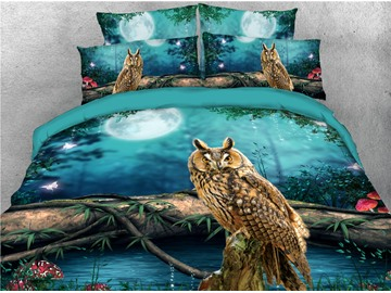 3D Owl and Moon Animal Printed 4-Piece Colorfast/Wear-resistant/Soft Zipper Bedding Sets with Corner Ties