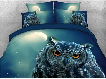 Night Owl and Moon Printed 4-Piece 3D Bedding Sets/Duvet Covers