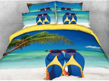 Flip-Flops Printed Microfiber Wrinkle/Fade Resistant 4-Piece 3D Bedding Sets Tropical Beach Island Sea Duvet Covers Soft Comfortable Machine Washable Bedding