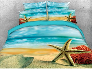 No-fading Summer Sea Starfish Seashells Beach 4-Piece 3D Coastal Scenery Bedding Sets Zipper Duvet Covers