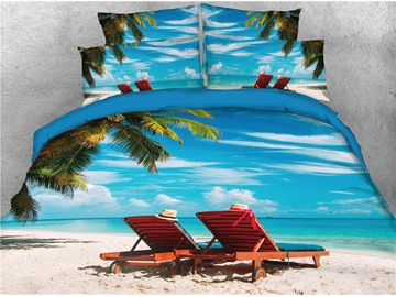 Beach Lounger Palm Tree and Blue Sky Printed 4-Piece 3D Bedding Sets/Duvet Covers