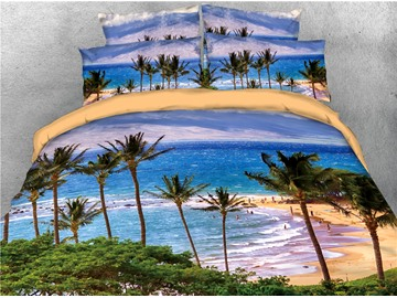 Tropical Beach Island Sea Wave with Palm Tree Printed 4-Piece 3D Bedding Sets/Duvet Covers