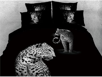 African Leopard Printed Black 4-Piece 3D Bedding Sets/Duvet Covers
