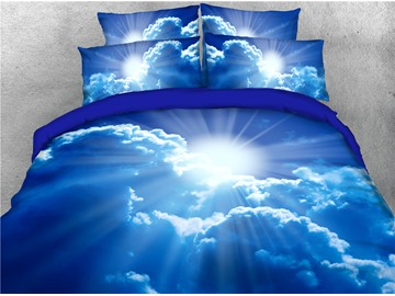 Sunshine Through Clouds Blue Sky Printed 4-Piece 3D Bedding Sets/Duvet Covers