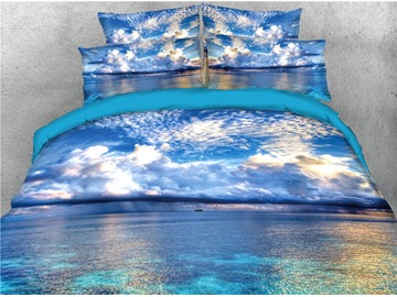 Sunlight Reflection On The The Sea of Clouds Printed 4-Piece 3D Bedding Sets/Duvet Covers