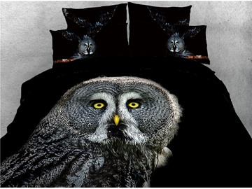 Owl Digital Printed Black 4-Piece 3D Bedding Sets/Duvet Covers